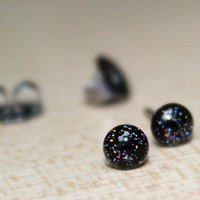 Tiny stud earrings in black and holographic, sparkly post earrings - hypoallergenic surgical steel stud earrings - 4mm