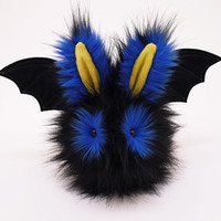 Reserved for Katharine Black Blue and Yellow Bat Bunny Rabbit Stuffed Animal Plush Toy - 6x10 Inches Large Size