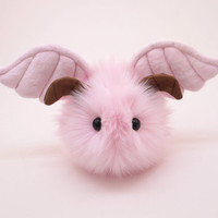 Reserved for Katharine Pink Winged Plush Stuffed Animal Toy - 6x10 Inches Large Size