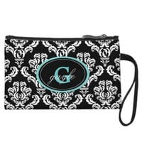 Black Damask Aqua Monogram Wristlet Bag