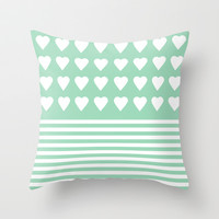 Heart Stripes Mint Throw Pillow by Project M