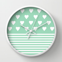 Heart Stripes Mint Wall Clock by Project M