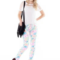High Waisted Pastel and Neon Floral Blend Skinny Pant