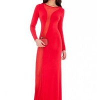 Red Sexy Mesh Insert Maxi Dress