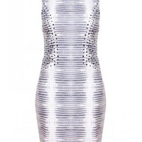 Gray Sequin Detail Printed Bodycon Dress