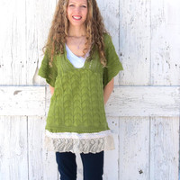 Green Eco Fashion Sweater- Babydoll St. Patrick's sweater- upcycled sweater with lace- bohemian indie fashion