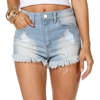Pre-Order Lt. Denim Fringe Distressed Shorts