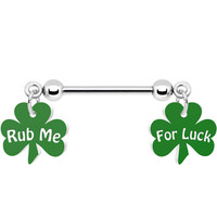 Rub Me For Luck Clover Nipple Ring | Body Candy Body Jewelry