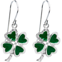 Jeweled Heart Shamrock Earrings | Body Candy Body Jewelry