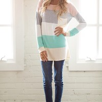 Destined for Greatness Color Block Top Peach - Modern Vintage Boutique