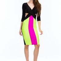 Crisscross Colorblock Bodycon Dress