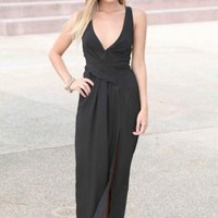 Black Criss-Cross Exposed Back Maxi Dress