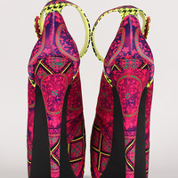 Morocco Tribal Ankle Strap Stiletto Platform Pump