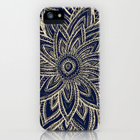 Cute Retro Gold abstract Flower Drawing on Black iPhone & iPod Case by Girly Trend