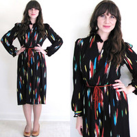 Secretary Dress / Vintage Black Dress / Colorful Dress