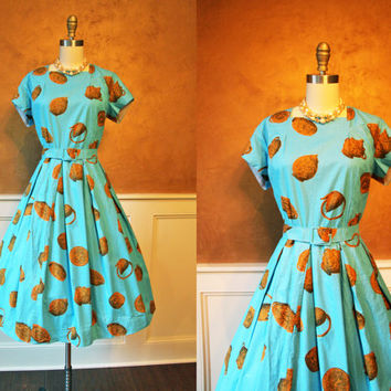 1950s Dress - Vintage French 50s Dress - Novelty Antique Pottery Full Skirt Dress L XL - Touplay - The Euro Collection