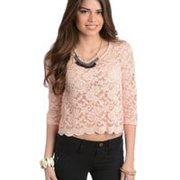 Aldusty Pink Lace Top