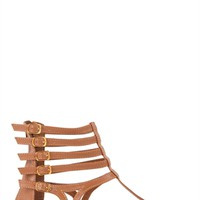 Gladiator Sandal with Five Buckled Straps and Gold Trim