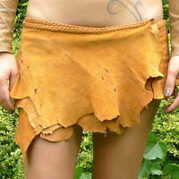 Antique Multidot Tan Leather Belt Skirt
