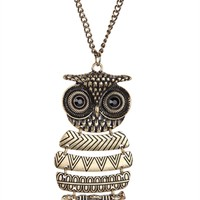 Long Necklace with Brushed Metal Owl Pendant