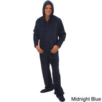 Del Rossa Men's Hooded Footed One-Piece Fleece Pajamas