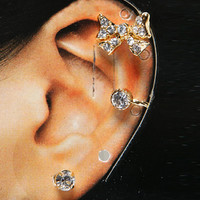 Papaya Clothing Online :: RHINESTONED RIBBON EARCUFF EARING