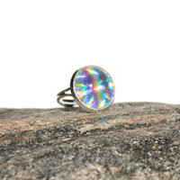Holographic ring - 17mm - colorful rainbow ring with lively holographic look - holographischen Ring