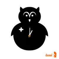 Black Owl Wall Hanging Clock
