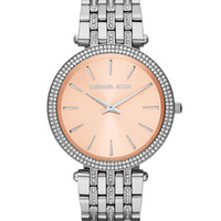Michael Kors Mid-Size Silver-Color Stainless Steel Darci Three-Hand Glitz Watch