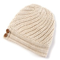 Diagonal Ribbed Knit Beanie Hat with Buttons | Icing