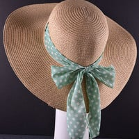Floppy Hat with Mint Polka Dot Bow
