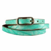 ZLYC Woman's Embossed Leather Belt Mint Blue