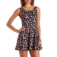 DAISY FLORAL PRINT BOW-BACK SKATER DRESS