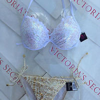 New Collection Victoria's Secret Sequin Push Up Bikini Set Python Gold 34C M
