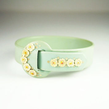 Vintage Bracelet Celluloid Buckle Bangle Mint Green Flowers Spring Jewelry