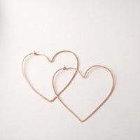 heart hoops rose yellow gold or sterling