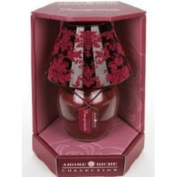 Red Pomegranate Scented Jar Candle Lamp with Flocked Glass Shade - Mothers Day Gift Idea for Her