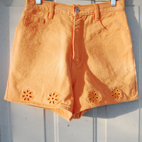 90s Bright Orange Daisy Cut Out High Waist Denim Shorts