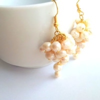 Earrings water pearl with gold plated earring hooks, wedding, pearl, jewelry, earrings, wedding, bridesmaid, cij