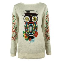 ZLYC Women's Floral Owl Jungle Print Pullover Jumper