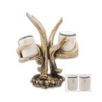 BudK Deer Resin Antler Salt And Pepper Shakers With Stand