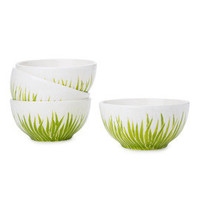 Etsy's front page, green grass ceramic cereal bowls, serving bowls, set of 3, by Jessica Howard Ceramics