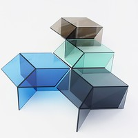 Isom Glass Table 60 cm - Blue