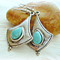 Boho Earrings - Boho Jewelry - Gypsy Earrings - Hippie Earrings - Turquoise Earrings - Tribal Earrings - Ethnic Earrings