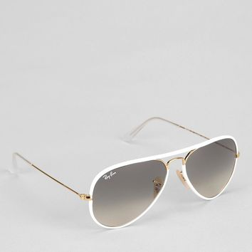 Ray-Ban Original Gold Lens White Aviator Sunglasses - Urban Outfitters