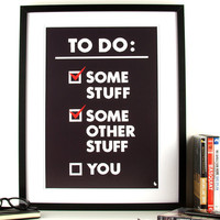 Black and white poster funny to do list by kyd13 on Etsy