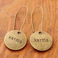 Karma Earrings - message earrings, karma, charm earrings, zen charm, buddha charm, message charm