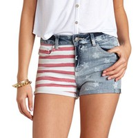 FLAG PRINT HIGH-WAISTED DENIM SHORTS