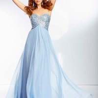 Prom Dress From Paparazzi By Mori Lee Style 95057 Chiffon Prom Gown with Criss Cross Beaded Bodice and Open Back