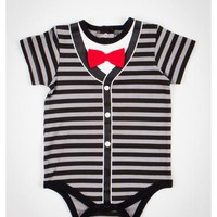 Bow Tie Striped Infant Snapsuit